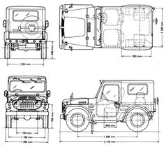 Suzuki Jimny 1970 Blueprint - Download free blueprint for 3D modeling