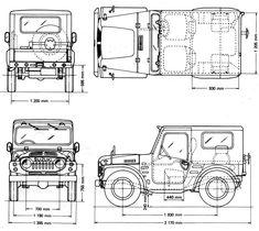 Suzuki Jimny 1970 Blueprint - Download free blueprint for 3D modeling