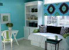 aqua and black teen girls bedroom - Sarah wants blue/green, maybe this will do? This green also makes a great accent to her wall color, it would also tie her two rooms together, I'll let her pick