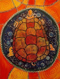 Indian Painting - Native American Art Turtle Island Southwest Decor Native American Art Turtle Artwork Turtle by Tamara Dalrymple Native American Decor, Native American Artwork, Native American Artists, Native American Indians, Native Americans, Indian Paintbrush, Turtle Painting, Rock Painting, Southwest Decor