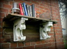 """He-man"" Shelf made with antique barn board and corbels Www.facebook.com/timeframeCA  #rustic #barnboard #country #farmhouse #shabbychic #diy #primitive"