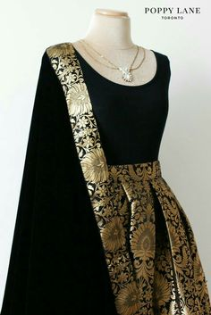 Poppy lane Toronto Simple Black Brocade Skirts with matching velvet dupattas… Indian Attire, Indian Wear, Indian Outfits, Indian Style, Stylish Dresses, Fashion Dresses, Saree Fashion, Indian Gowns Dresses, Lehenga Designs
