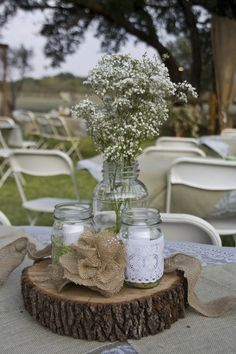 PRETTY-INEXPENSIVE AND EASY TO DO...TWIGS WOULD LOOK NICE IN THE JAR INSTEAD OF BABIES BREATH A FEW RIVER STONES FROM THE WILD WOULD LOOK PRETTY TUCKED IN TOO...RUGGED AND NATURAL