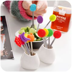 Creative Fun stainless steel 6pcs fruit fork set, home supplies fashion cake dessert fork, stirring forks K2593