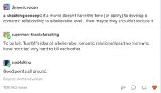 Tumblr's idea of a believable romantic relationship is two men who haven't tried very hard to kill each other