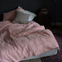Red Stripe Washed Linen Duvet Cover