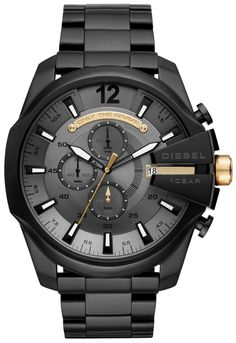 Men's Chronograph Mega Chief Black Stainless Steel Bracelet Watch Diesel Men's Chronograph Mega Chief Black Stainless Steel Bracelet Watch Black Stainless Steel, Stainless Steel Bracelet, Smartwatch, Casual Watches, Watches For Men, Wrist Watches, Men's Watches, Diesel Watch, Seiko