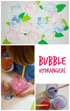 Bubble Blowing makes the best flower craft ever. These hydrangeas are the perfect kids art project.