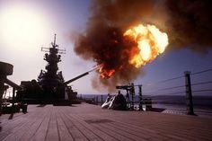 U.S.S Wisconsin hammering Iraqi positions
