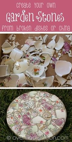 Make beautiful garden stepping stones from broken pieces of china
