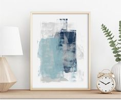Title: Muted Expression 1 Blue | Gray A minimal modern art print in shades of blue & grey. This original artwork is perfect for making a contemporary statement in your beautiful home. This art or perfect for coastal, beach and blue interiors! You can download and print this file instantly giving