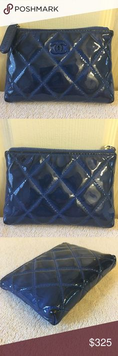 CHANEL Key Case Authentic CHANEL Key case. Blue in color but majority of the patent leather area shows darkening and some color (dark shades) transfer. Interior is mostly clean. Sticker is peaking off on one side. No defects. Corners show minimal wear, no rubbing or tear. CHANEL Bags