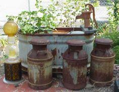 Water feature Garden Whimsy, Garden Junk, Garden Art, Old Water Pumps, Old Milk Cans, Topiary Garden, Reuse Recycle, Garden Structures, Water Garden