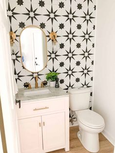 Bold blush pink, black and white powder room. Check out this DIY update to a powder room that was done on a budget. Black and white tile on walls mimics wallpaper! A great bathroom update without doing a full remodel on a budget Bathroom Renos, Bathroom Pink, Remodel Bathroom, Dream Bathrooms, Bathrooms On A Budget, Wall Paper Bathroom, Bathroom Canvas, Shower Bathroom, Luxury Bathrooms