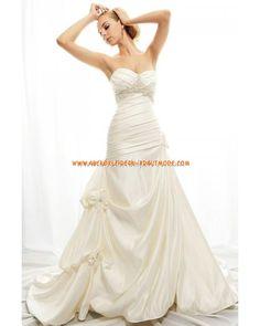 Luxuriöse elegante Brautkleider aus Taft mit Stickerei Schleppe A-Linie