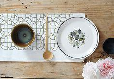 Olive green tea towel - hand printed in linen, casas geometric design