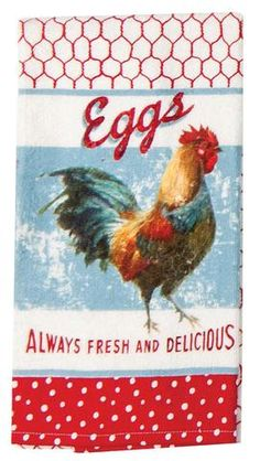 Farm Nostalgia Terry Towel features a rooster, chicken coop, and eggs artwork.  The print is on the front side only with white terry cloth material on the backside.