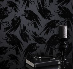 Classical Style Interior Decoration - Mysterious Dark Graham & Brown and Disney Wallpaper Diablo with Raven!