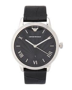 Emporio Armani AR1611 Silver-Tone & Black Watch