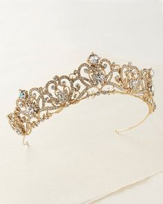 """""""The Brandy"""" Romance Bridal Crown - Sweet Heart Details donates all profits to help animals in need. Bridal Crown, Bridal Tiara, Quinceanera Tiaras, Cute Jewelry, Unique Jewelry, Jewlery, Royal Tiaras, Gold Rhinestone, Wedding Hair Accessories"""