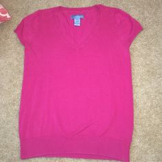 LISTING: Pink Short Sleeve Sweater This cute pink sweater is a perfect combination of comfy and professional! You can definitely wear this to work or pair with jeans for after hours! Runs smaller than your typical medium! 20% off of 2+ items Classic Elements Sweaters V-Necks
