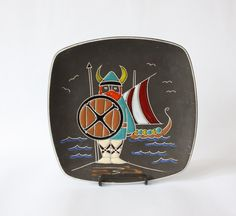 SALE Vintage Arnold Wiig Fabrikker  Norway Nordic AWF Viking Plate Platter Decor - pinned by pin4etsy.com