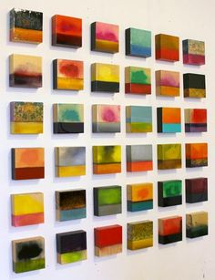 "LOVE!!! Erin Ross - Small Palettes 36 5 x 5"" boxes Mixed media and resin/birch"