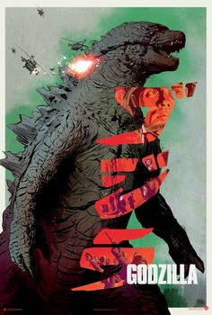 Retro style Godzilla 2014 movie poster.  We really like how they gave it the old…