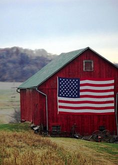 Red barn with more red white and blue | American flag | red white and blue | stairs and stripes