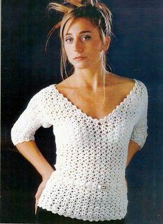White Blouse - Free Crochet Diagram - (crochetemoda.blogspot)