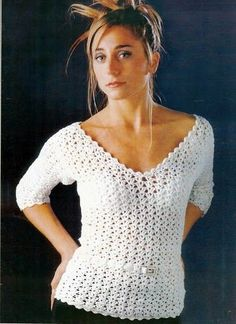 White Blouse - Free Crochet Diagram - (crochetemoda.blogspot)