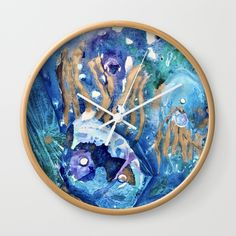 Buy Golden Jellyfish Wall Clock by anoellejay. Worldwide shipping available at Society6.com. Just one of millions of high quality products available.  @anoellejay @society6 Stocking stuffers | Holiday gifting