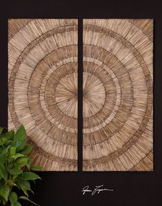Hand pieced natural wood chips with a burnished wash are used to create this stylish wall art.