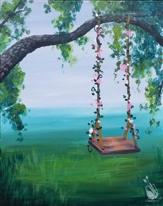 wonderful from each other beach canvas painting, aesthetic painting, sunset painting, chalk paint, painting rocks ideas. Check out other amazing examples Swing Painting, Easy Canvas Painting, Simple Acrylic Paintings, Acrylic Canvas, Diy Painting, Canvas Canvas, Detailed Paintings, Cute Paintings, Small Paintings