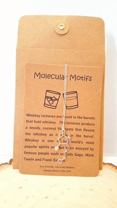 Silver or Gold Plated Whisky Alcohol Molecule Necklace Pendant in Gift Bag//Box