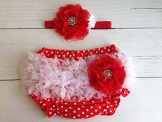 Red Bloomer and Headband Set by SomethingBleuShop on Etsy, $20.00
