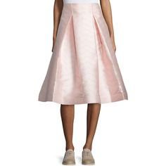 Alexis Paola A-Line Midi Skirt (675 CAD) ❤ liked on Polyvore featuring skirts, light pink, straight skirt, pink midi skirt, mid-calf skirt, light pink pleated skirt and midi skirt