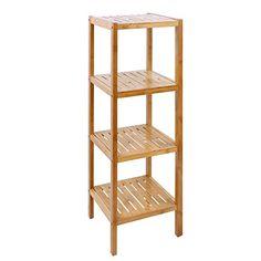 Songmics Estantería de bambú de 4 niveles para hogar y baño Estante de libros 98 x 33 x 33 cm BCB54Y #estanterias #baño