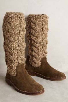 Miss Albright Cableknit Boots Moss 40 Euro Boots