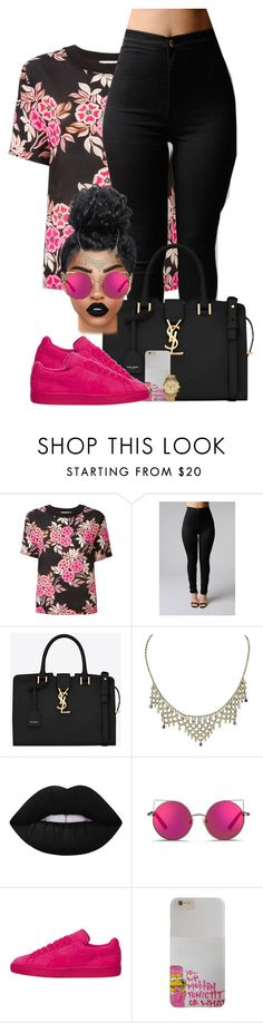 """""""One Pink Baby"""" by chiamaka-ikaraoha ❤ liked on Polyvore featuring MSGM, Yves Saint Laurent, Lime Crime, Matthew Williamson and MICHAEL Michael Kors"""