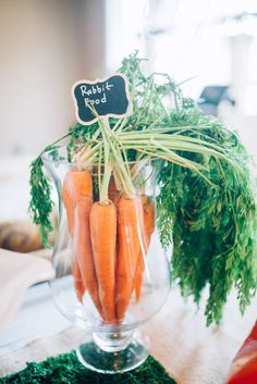 Beatrix Potter Birthday Party Ideas | Photo 1 of 33 | Catch My Party. Real carrot centerpiece