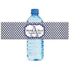 100 Navy Blue Quatrefoil Wedding Anniversary Engagement Party personalized Water Bottle labels Bridal Shower