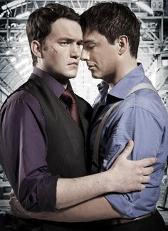 Two for one. Gareth David-Lloyd in grape and John Barrowman in lilac. Ianto and Jack on Torchwood were the very definition of star-crossed lovers. It was so sad....