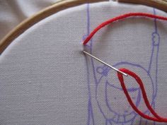 Embroidery tutorial, how to transfer a pattern and filling with backstitch