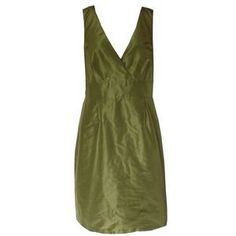 J.Crew Olive Silk Taffeta Alisanne Dress. Price: $35 Size: M