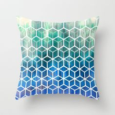 The Geometry of Bees and Boxes - cobalt blue, emerald green, mint & white Throw Pillow by micklyn - $20.00