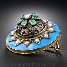 Victorian Enamel, Seed Pearl and Emerald Pin - 50-1-1889 - Lang Antiques