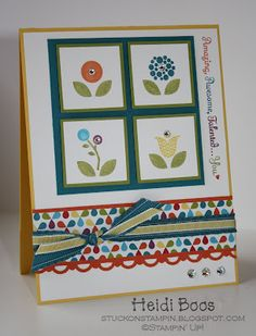 Stampin' Up! Card, Bright Blooms stamp set, In Colors, Summer Smooches DSP. by Stuck on Stampin'
