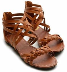 Ollio Womens Sandals Gladiator Strappy Zip Closure