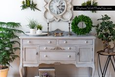 A beautiful sideboard painted in Paris Grey Chalk Paint® decorative paint by Annie Sloan | By Orphans with Make Up